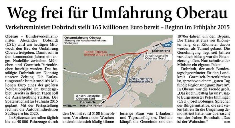 Münchner Merkur: Weg frei für Umfahrung Oberau