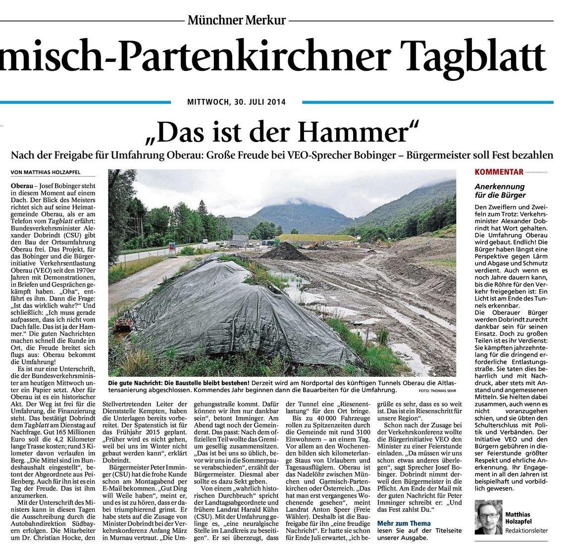 """Garmisch-Partenkirchner Tagblatt: """"Das ist der Hammer"""""""