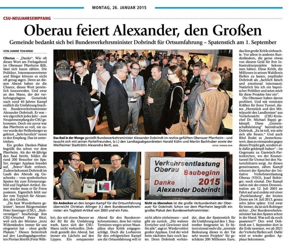 Oberau feiert Alexander Dobrindt
