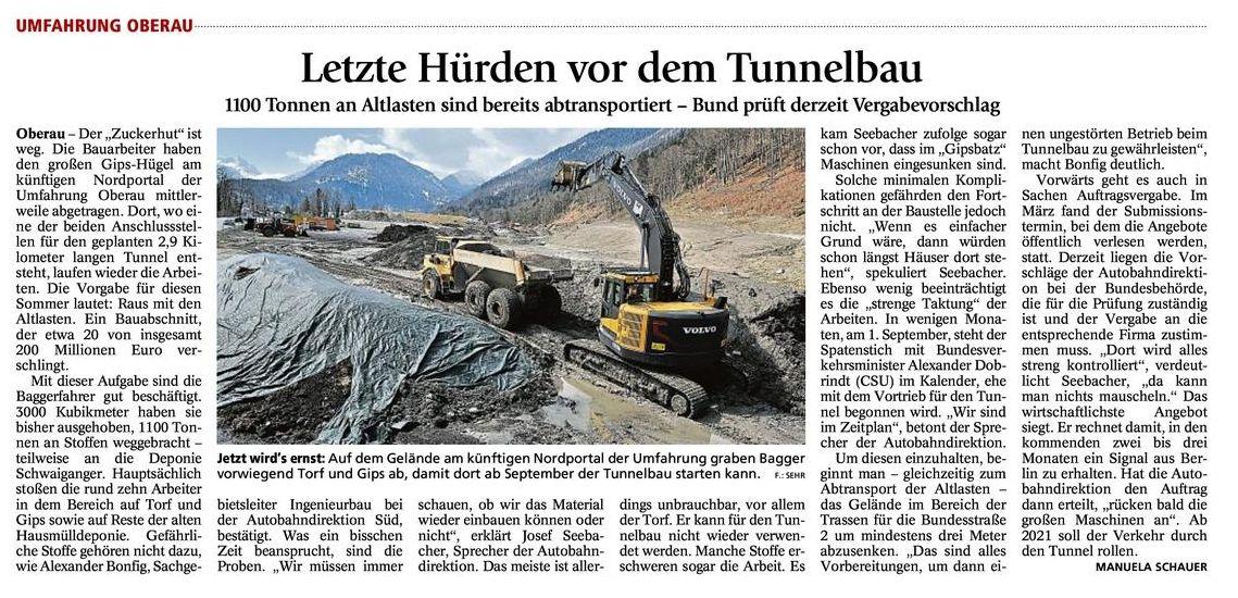 """Garmisch-Partenkirchner Tagblatt: """"Letzte Hürden vor dem Tunnelbau"""""""