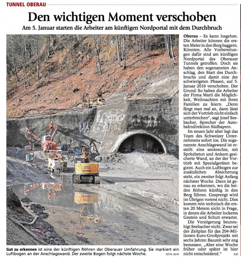 Garmisch-Partenkirchener Tagblatt: Durchbruch startet am 5. Januar 2016